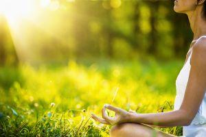 Mindfulness, meditatie in park voor verbinding